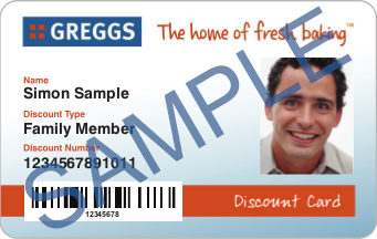 Sample Greggs Discount Card